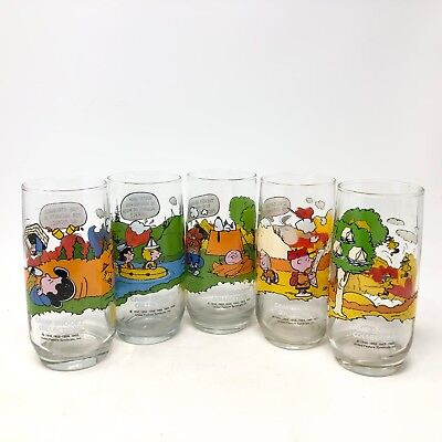 a7cde62a0c McDonalds Peanuts Camp Snoopy Collection Cartoon Drinking Glasses SET OF 5