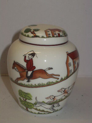 Crown Staffordshire Hunting Scene Fine Bone China Ginger Jar Beautiful Condition