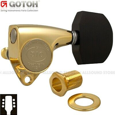 GOTOH SGV510Z-EN01 Guitar Tuners w/  EBONY Wood Buttons, 1:21 Ratio, 3x3 - GOLD