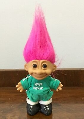 Vintage Troll Doll Toy Pink Hair Super Kicker Football Soccer Russ 1990s