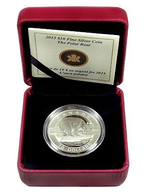 AUC0550 2013 Canadian $10 Silver Coin The Polor Bear in OGP with COA