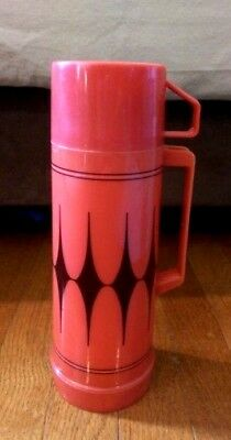 Vintage Aladdin Insulated Flask Thermos Red with Black Diamond Pattern Pint Size