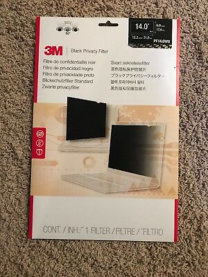 "3M PF14.0W Black Privacy Filter 14.0"" Widescreen Laptop - NEW"