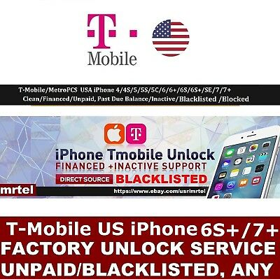 T-Mobile USA iPhone 7+ 100% PREMIUM Factory Unlock Service for BLACKLISTED IMEIs