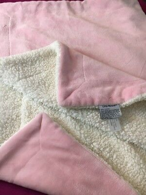 Little Miracles Solid Pink White Cream Plush Baby Blanket 30x44""