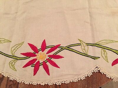 """Vintage Extra Long Red Poinsettia Flowers Embroidered Linen Runner 90x20"""""""