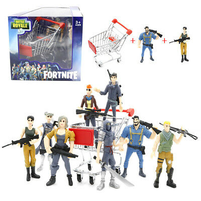 Fortnite Toy Shopping Cart With 2pcs Action Figure Playsets Kids Gift Collection