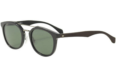 0a74c14799 Hugo Boss Men s 0777S 0777 S RAJ85 Black Dark Brown Round Sunglasses 51mm