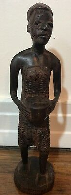 """Vintage Besmo Product Hand Carved In Kenya Wood  Tribal Woman Carrying Bowl 6.5"""""""