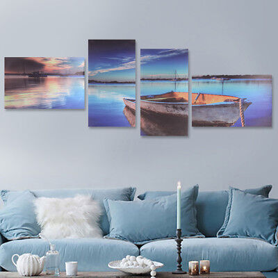 Framed 4Pcs Modern Lake Boat Canvas Print Art Painting Wall Picture Home Decor