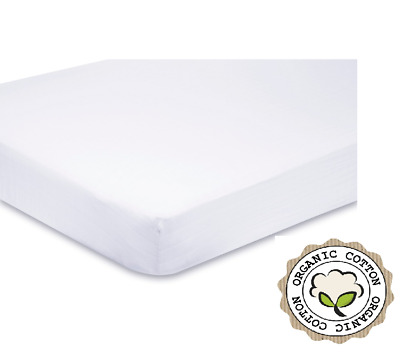 2 x 100% Organic Cotton Premium Quality Jersey Cot Fitted Sheets 120 x 60 -White