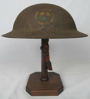ORIGINAL WWI 35th DIVISION 138th INFANTRY DUAL INSIGNIA PAINTED US M1917 HELMET