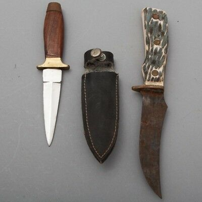 VTG Pair of 2 Fixed Blade Knives Hunting Dagger Imperial Pakistan Sheath Steel