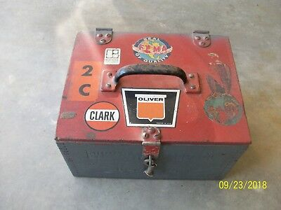 Vintage Wooden Crate Tool Box Oliver Clark Farm Tractor Barn