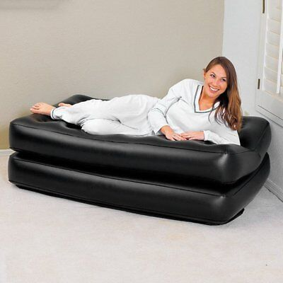 Inflatable Double Sofa Air Cushion Bed Couch Blow Up Mattress With Pump^E