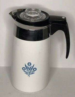 Vintage Corning Ware Blue Cornflower 10 Cup Stove Top Percolator Coffee Pot