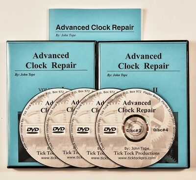 Large ADVANCED CLOCK REPAIR study course 4 video DVDs + book