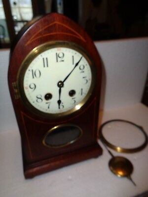 Antique-German-Hamburg American-Mahogany Shelf Clock-Ca.1910-To Restore-#P827