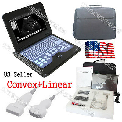 USA LCD CMS600P2+2 Probes Ultrasound Scanner Laptop Machine Convex+Linear Probes