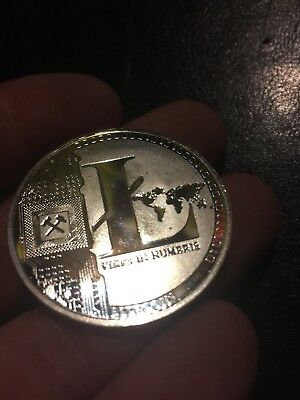 Litecoin Crypto Coin BU Solid 1oz Ounce Silver Finish Cryptocurrency 2013 25LTC