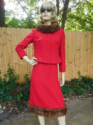 Vintage House of Branell Couture Red Wool & Mink Fur Walking Skirt Suit Jacket
