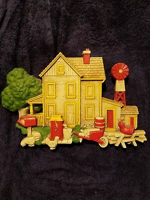 Vintage antique Farmhouse wall plaque with farm animals and windmill 11wx7h