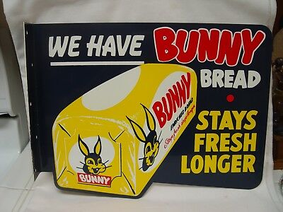 Vintage Unhung Bunny Bread 2-Sided Die-Cut Metal Advertising Flange Sign