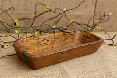 New Primitive Country Farmhouse Distressed Vintage Treenware TRENCHER Dish