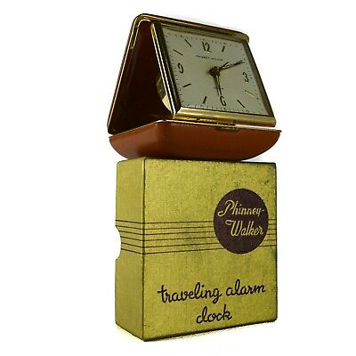 Phinney-Walker Wind Up Travel Alarm Clock Box Fold-Up Brown White Vintage