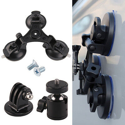 Car Triple Suction Cup Windscreen Glass Vacuum Bases For GoPro Hero 5 4 + 3 2 1