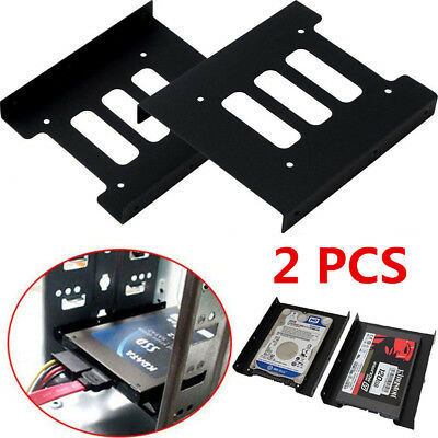 """Adapter 2.5/"""" to 3.5/"""" hard drive plastic bracket hdd holder mounting ssd black XS"""