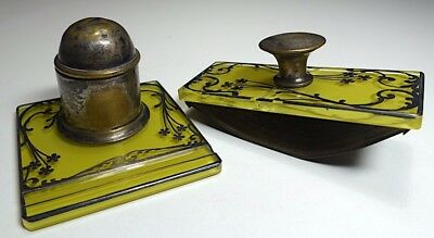 Delicate Art Nouveau Silver on Glass Inkwell with Pen Rest and Rocker Blotter