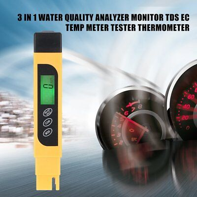 3 in 1 Water Quality Analyzer Monitor TDS EC Temp Meter Tester Thermometer LO