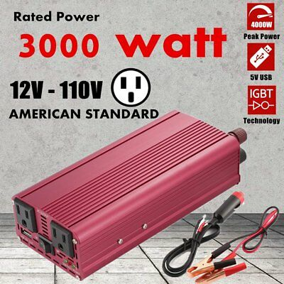 3000W Car Power Inverter DC12V to AC 110V Adapter Modified Converter USB QW