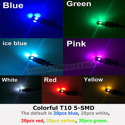 100pcs Colorful T10 5 SMD 5050 LED 194 W5W Car Side Wedge Tail Light Lamp Bulbs