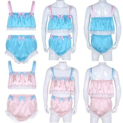 2Pcs Men Pajamas Lingerie Set Crop Tops Sissy Bikini Briefs Underwear Crossdress