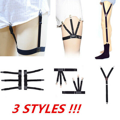 Mens Elastic Garters Non-slip Locking Sock Clamp Suspender Shirt Stays Holders L