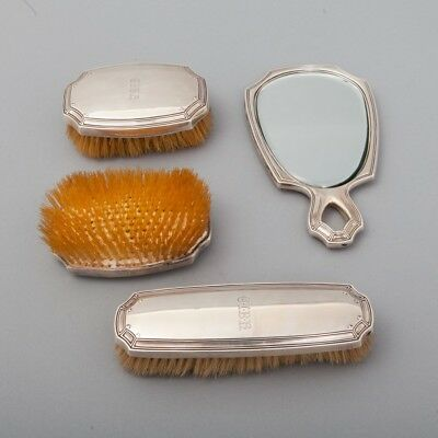 Tiffany Co Makers 4 Piece Dresser Vanity Set 1909 Sterling Silver Mirror Brushes