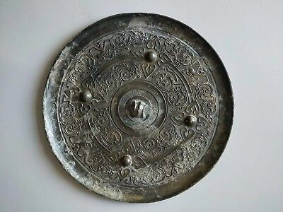 China Ancient Warring States Period Old Bronze Mirror Monkey Statue Pattern Rare