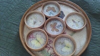 Vintage Bamboo Butterfly tray and coasters