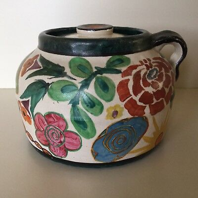Bauer Pottery Hand Decorated Bean Pot Signed by Artist Vintage 1920