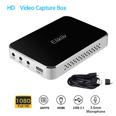 Elikliv HD Game Capture Box HDMI 60FPS 4K for XBOX PS4 w/ Mic Input Low Latency