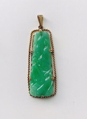 Antique Chinese Grade A jadeite jade 14K Solid Gold Pendant with pair of earring