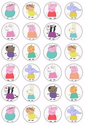 24 x Peppa Pig ( Theme1 ) Edible Icing Cupcake Toppers Kids Birthday UNCUT Image