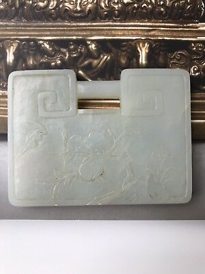 Antique Chinese White jade Carving Lock pendant with Flower and peach tree, Big.