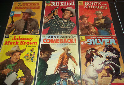 Lot Of 6 Gold Key Silver Age Western Comics- Texas Rangers Bill Elliot & More!