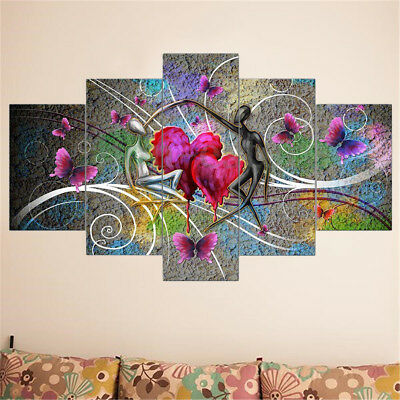 5Pcs Abstract Love Butterfly Art Oil Canvas Print Painting Picture Home Decor