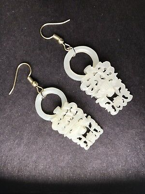 Antique Chinese White jade Hollow Carving a pair of Earring, Very nice !!!