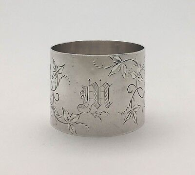 """A Fine Antique Aesthetic Engraved Sterling Silver Napkin Ring """"M"""""""