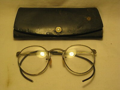 vintage AO Fulvue  eyeglasses safety glasses  + case wire round American Optical